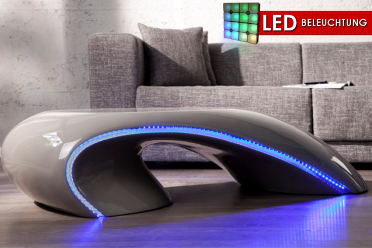 design couchtisch curve grau mit led beleuchtung blau. Black Bedroom Furniture Sets. Home Design Ideas