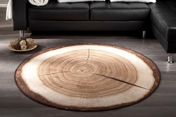 Dekorativer Design Teppich WOOD 133 cm rund Baumstamm Optik