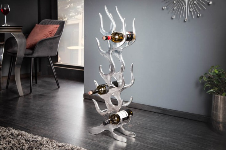 Modernes Weinregal FLAME 93cm silber für 9 Flaschen Flaschenhalter