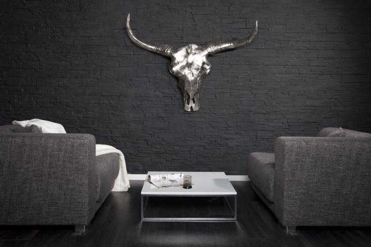 Eindrucksvoller Deko Schädel MATADOR Longhorn Skull massive Metall-Aluminium-Legierung poliert
