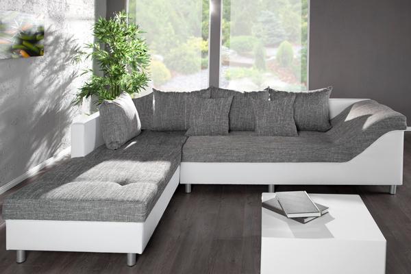 gro es ecksofa sultan wei strukturstoff grau ot links. Black Bedroom Furniture Sets. Home Design Ideas