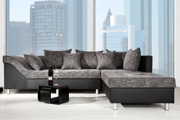 gro es ecksofa sultan schwarz strukturstoff schwarz ot rechts riess ambiente onlineshop. Black Bedroom Furniture Sets. Home Design Ideas