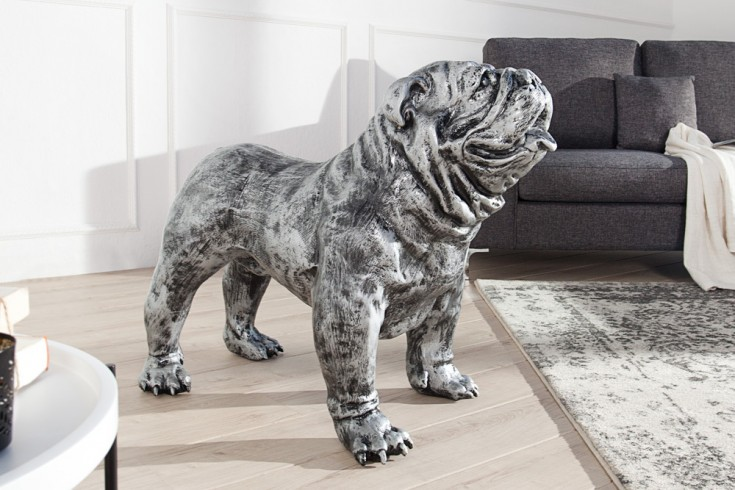 Riesige Design Skulptur BULLDOGGE 90cm antique silber Deko Hund