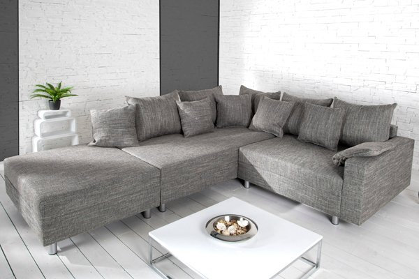design ecksofa mit hocker loft strukturstoff grau federkern sofa ot beidseitig aufbaubar riess. Black Bedroom Furniture Sets. Home Design Ideas