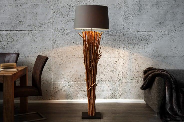 Design Treibholz Stehlampe EUPHORIA 180cm grau mit Leinenschirm