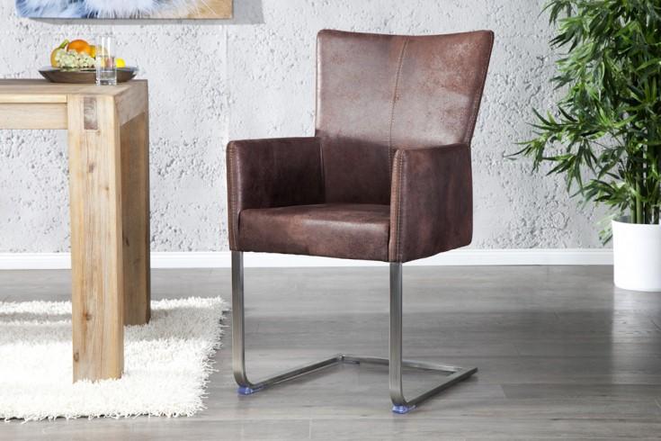 Freischwinger Stuhl CONSUL mit Armlehnen dunkel braun und gebürstetem Edelstahlrahmen