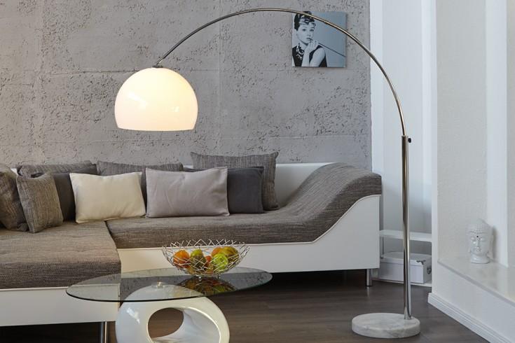 Design Bogenlampe LOUNGE DEAL weiss Marmorfuss 175 - 205cm ausziehbar Bogenleuchte