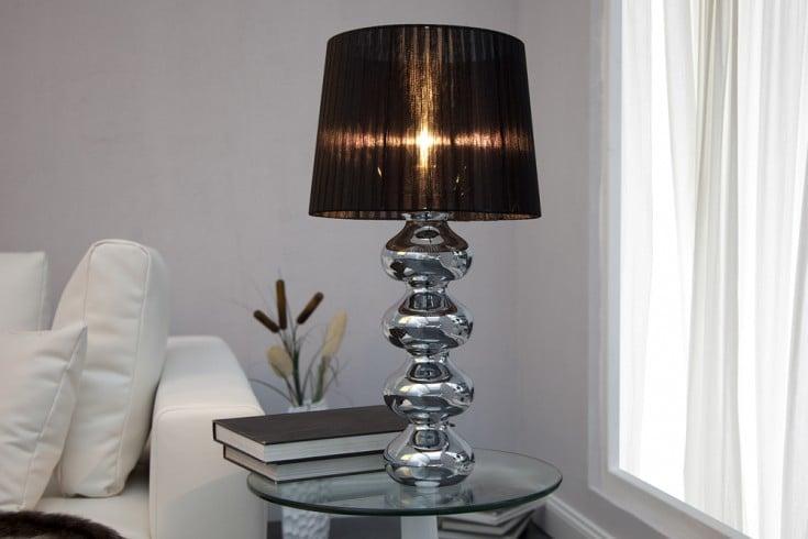 Elegante Design Tischlampe MIA 60cm silber Tischleuchte Stoffschirm