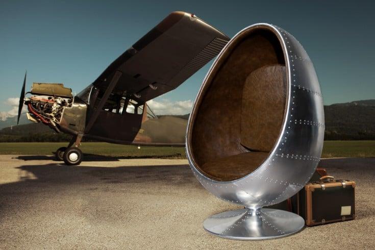 Extravaganter Lounge Sessel SPACE EGG 135cm silber braun Drehsessel