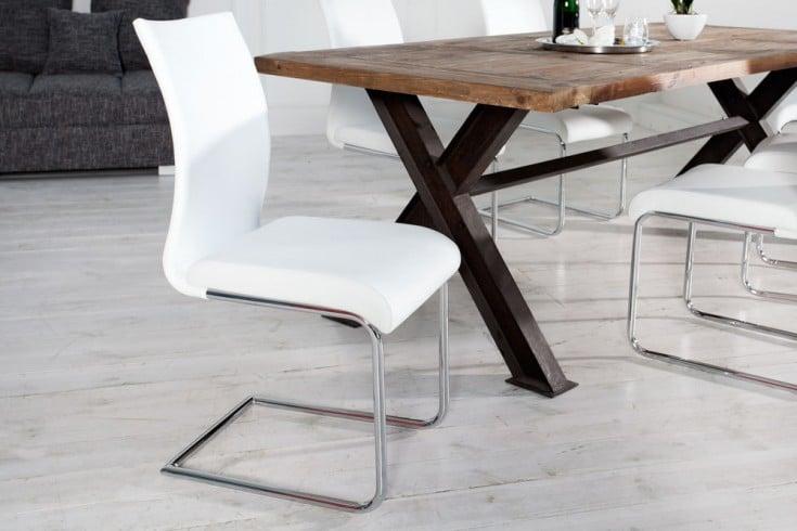 Moderner Design Freischwinger Stuhl SUAVE weiß mit Chromgestell