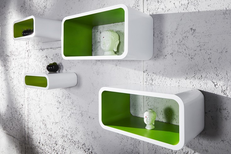 4er Set Design Regal CLUB CUBE LARGE 45cm weiß grün Retro Lounge Wandregal
