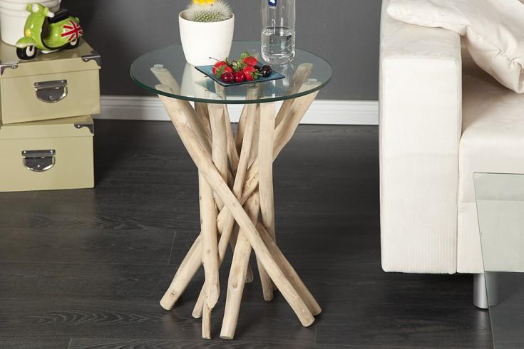 Design beistelltisch driftwood teakholztisch mit for Design couchtisch nature lounge teakholz mit runder glasplatte beistelltisch