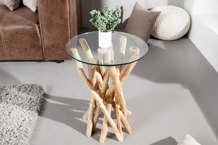 Design Beistelltisch DRIFTWOOD 40cm Teakholz mit Glasplatte rund Couchtisch
