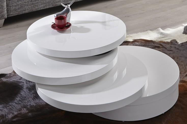 exklusiver runder couchtisch multi puk xl 3 drehplatten hochglanz weiss riess ambiente onlineshop. Black Bedroom Furniture Sets. Home Design Ideas
