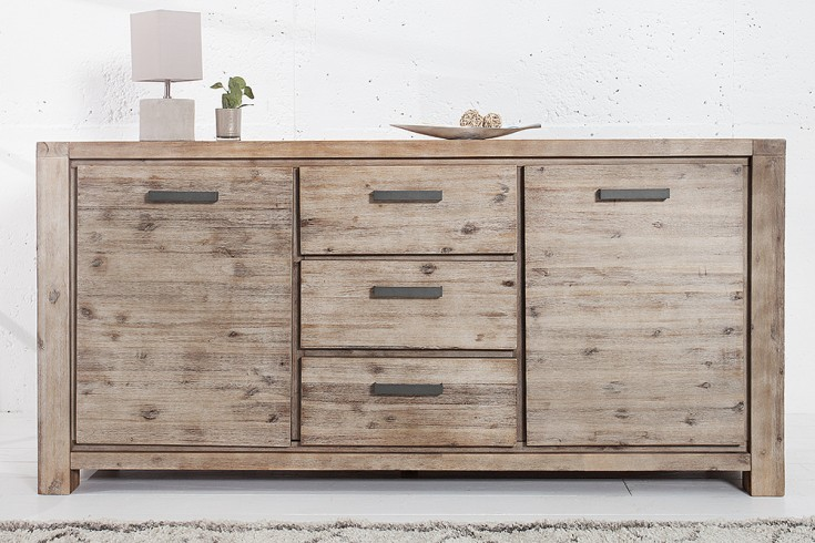 massives sideboard montreal 180cm akazie teakgrau wei gekalt massivholz riess. Black Bedroom Furniture Sets. Home Design Ideas