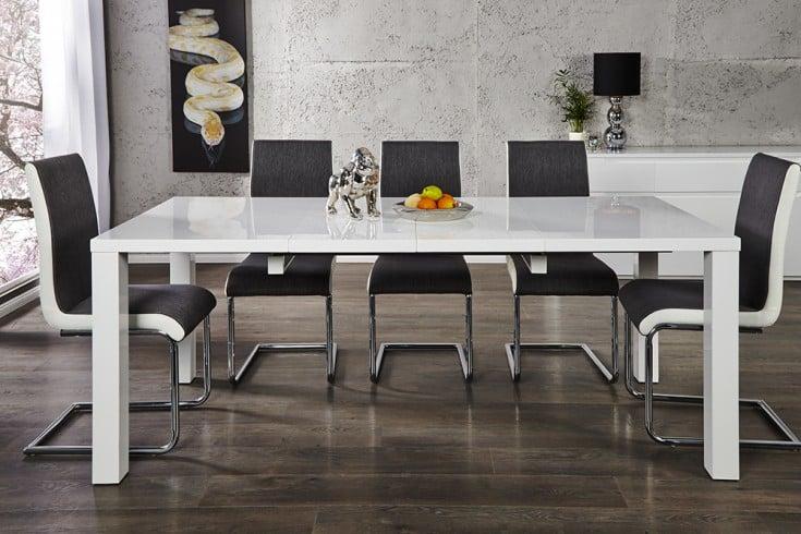Design Esstisch LUCENTE weiss hochglanz 120 - 200cm ausziehbar Tisch
