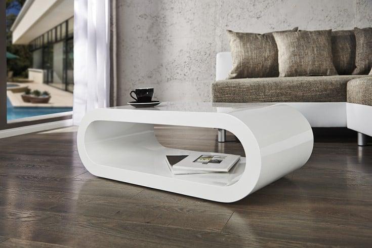 Design Couchtisch BOWL hochglanz weiß 90cm Riess-Ambiente.de