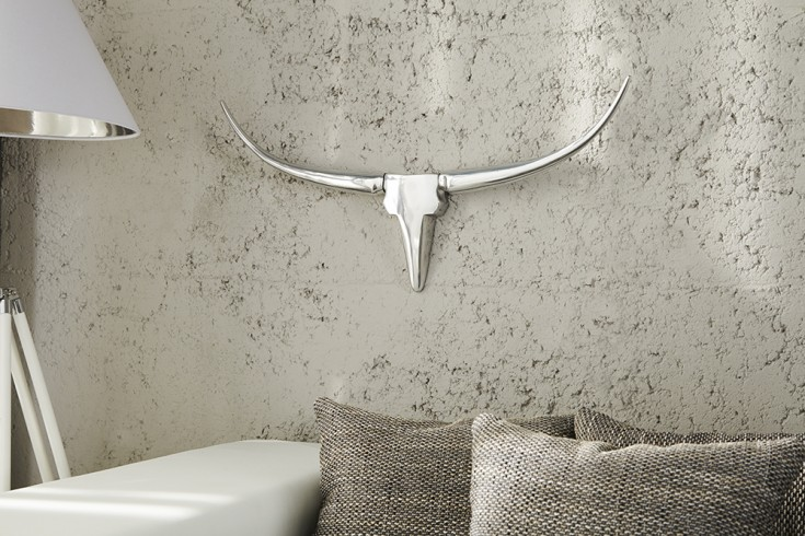 Moderne Design Wanddekoration BULL 75cm silber Aluminium Stierkopf