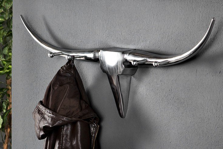 Design Garderobe BULL Metall-Aluminium Legierung Wanddekoration Geweih Stier 100cm