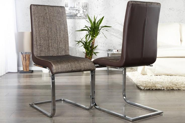 Moderner Freischwinger Stuhl METROPOLIS braun meliert Strukturstoff