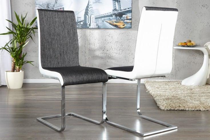 Eleganter Freischwinger Stuhl METROPOLIS anthrazit weiß Strukturstoff