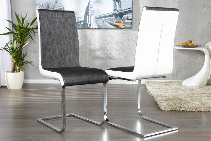 eleganter freischwinger stuhl metropolis anthrazit wei strukturstoff riess ambiente onlineshop. Black Bedroom Furniture Sets. Home Design Ideas