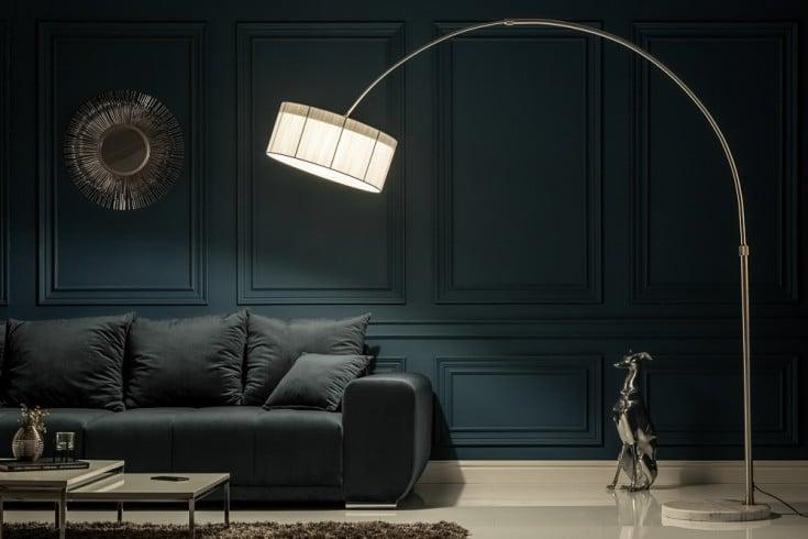 Exklusive Design Bogenleuchte EXTENSO 230cm weiß mit weißem Marmorfuß Bogenlampe