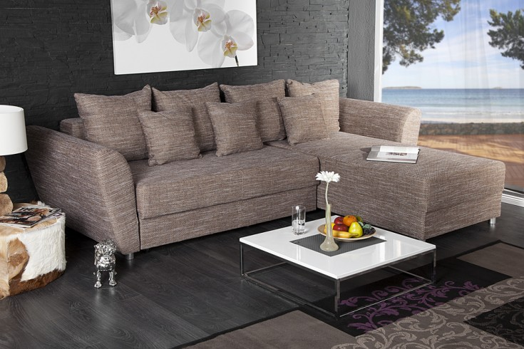 ecksofa palma strukturstoff cappuccino federkern schlaffunktion riess ambiente onlineshop. Black Bedroom Furniture Sets. Home Design Ideas