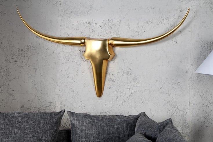 Design Accessoire Geweih BULL gold Metall-Aluminium-Legierung 125cm XL Wanddekoration