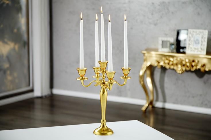 Design Barock Kerzenständer 5-armig Lüster 40cm Goldoptik Kerzenhalter