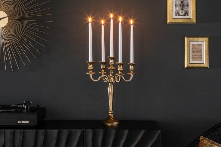 Barocker Kerzenständer 40cm gold 5-armig Lüster Aluminium poliert Kerzenhalter