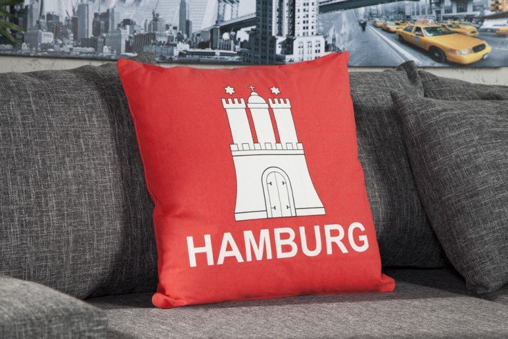 stylisches kissen hamburg 50x50cm rot landesflagge riess ambiente onlineshop. Black Bedroom Furniture Sets. Home Design Ideas