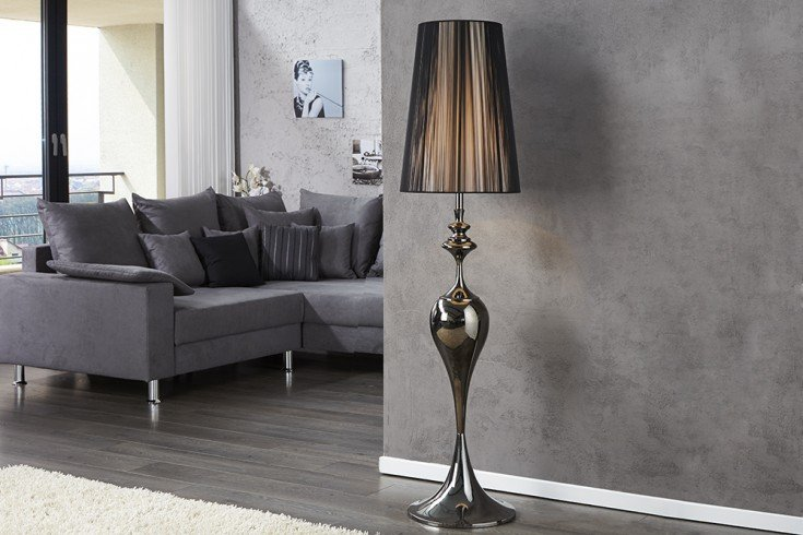 Edle Design Stehleuchte LUCIE 160cm schwarz Barock Stil Stehlampe