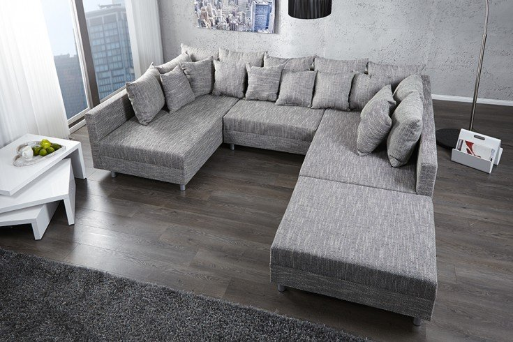 Design sofa loft xxl mit hocker strukturstoff anthrazit for Canape convertible moelleux