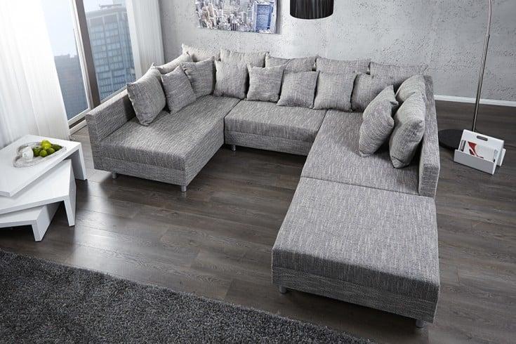 Design Sofa LOFT XXL mit Hocker Strukturstoff anthrazit