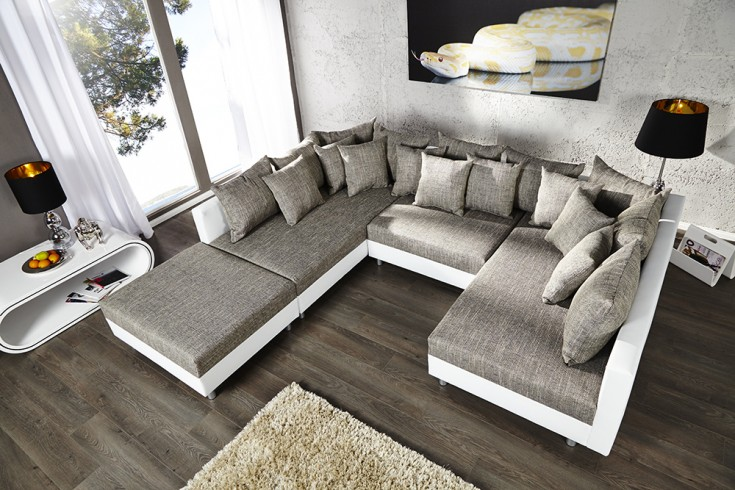 design sofa loft xxl weiss strukturstoff grau. Black Bedroom Furniture Sets. Home Design Ideas