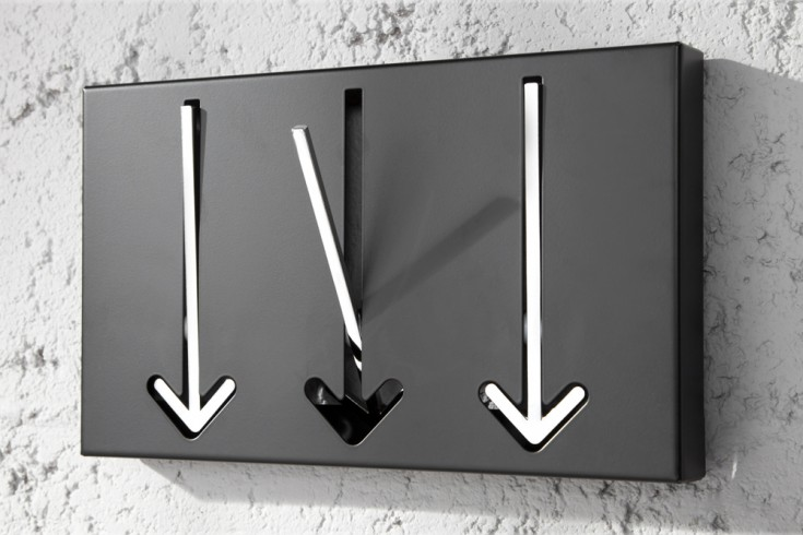 Moderne Design Wandgarderobe ARROW 30cm schwarz mit 3 Haken