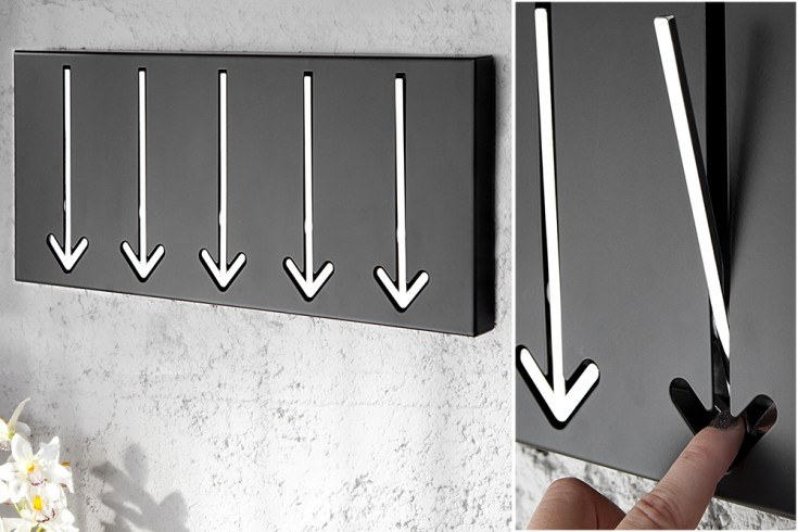 Moderne Design Wandgarderobe ARROW 45cm schwarz mit 5 Haken