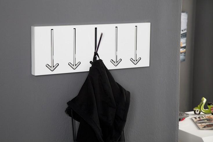 Moderne Design Wandgarderobe ARROW 45cm weiß mit 5 Haken