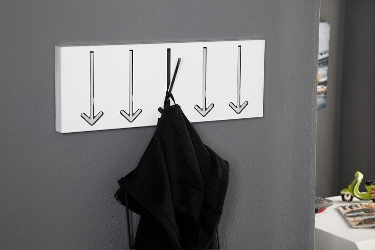 Design Wandgarderobe ARROW 5er weiß Garderobe