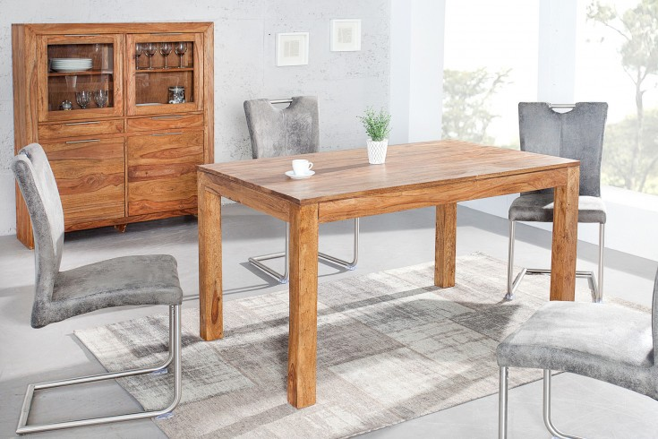 Exklusiver Massiver Esstisch PURE 140cm Sheesham stone finish Tisch eindrucksvolle Maserung