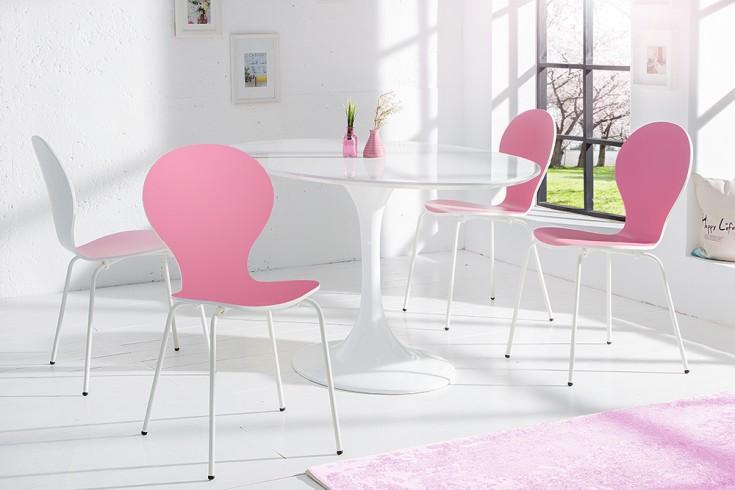 4er set stuhl form designklassiker aus hochwertigem formholz bicolor sonderedition rosa wei. Black Bedroom Furniture Sets. Home Design Ideas