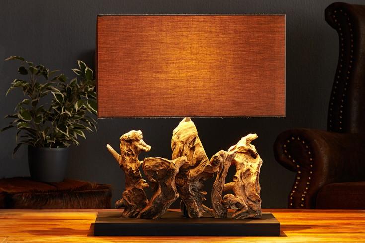 Design Treibholzlampe ARAGON mit hochwertigem braunen echt Leinen Schirm Handarbeit