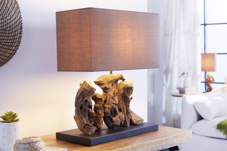 Handgefertigte Tischlampe ARAGON 50cm braun Treibholz-Fuß mit Leinenschirm
