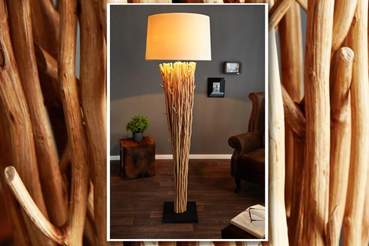 Riesige Design Treibholz Stehlampe EUPHORIA 180cm natur mit weißem Schirm aus echten Leinen