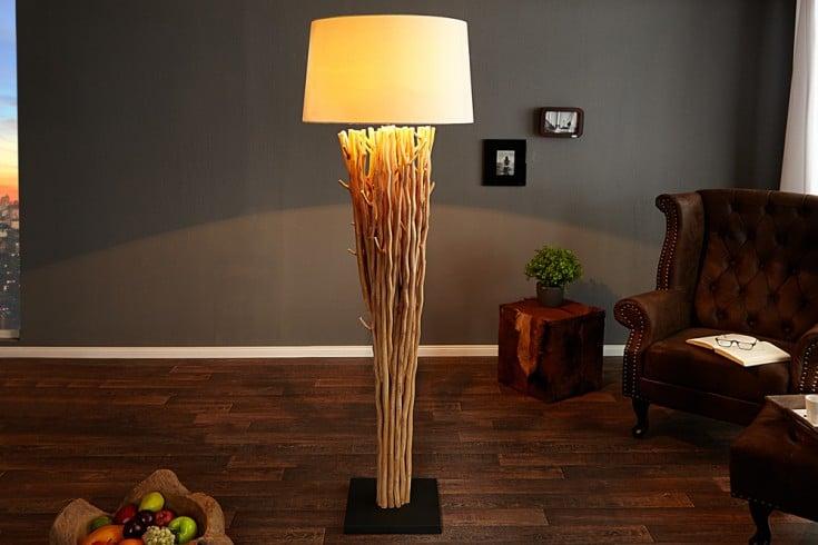 Design Treibholz Stehlampe EUPHORIA 180cm natur mit Leinenschirm