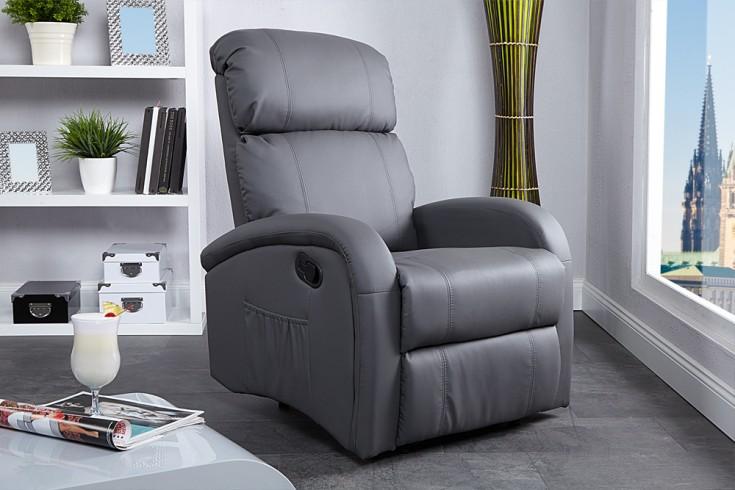 Relaxsessel Mit Liegefunktion Design ~ Moderner Relaxsessel COSY mit Liegefunktion grau  Riess Ambiente [R