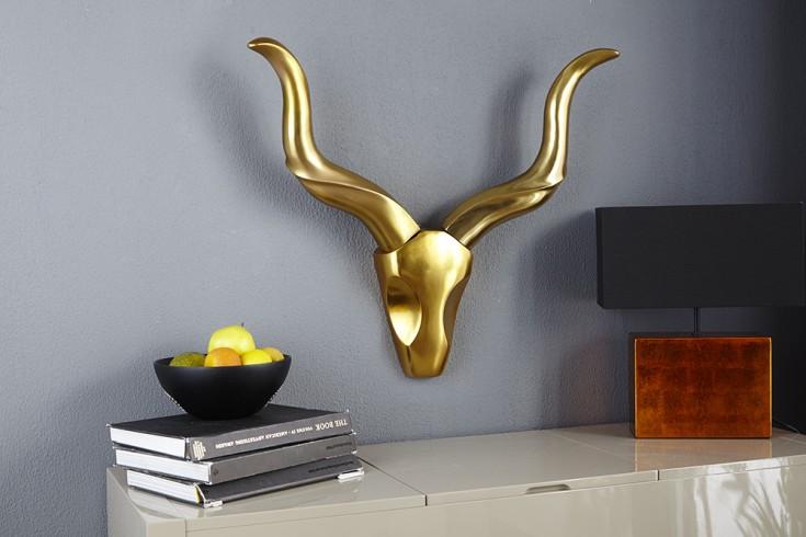 Design Wanddekoration Accessoire STYLE ROCKS Goldoptik 50cm Geweih Alu