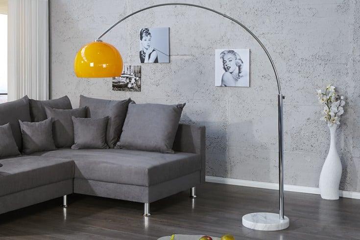 Design Bogenlampe LOUNGE DEAL orange Marmorfuß 175 - 205cm ausziehbar Bogenleuchte
