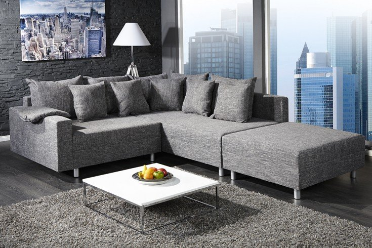 design ecksofa mit hocker loft strukturstoff anthrazit federkern sofa beidseitig aufbaubar. Black Bedroom Furniture Sets. Home Design Ideas